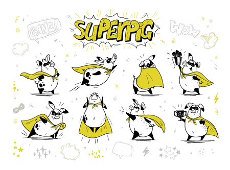 Vector collection of pig super hero hand drawn characters isolated on white background. Comic style. Outline drawing. Perfect for banners, cards, prints, package design, children's room interior decor Standard-Bild - 104645964