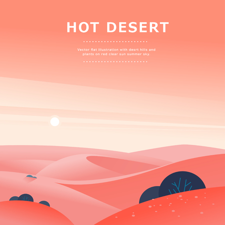 Illustrazione di paesaggio estivo piatto vettoriale con colline desertiche e dune sul cielo soleggiato caldo e limpido. Perfetto per pubblicità turistica, poster del tour, cartello, flayer, depliant, banner. Bella vista della natura. Vettoriali