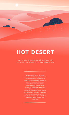 Vector flat summer landscape illustration with desert hills and dunes on clear hot sunny sky. Perfect for touristic advertisement, tour poster, placard, flayer, leaflet, banner. Nature beautiful view. Çizim