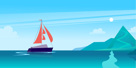 Vector flat summer landscape illustration with ship sailing across the ocean towards coast with mountains on blue clouded sky. Perfect for sea tours & travel poster, placard, flayer, leaflet, banners. 矢量图像