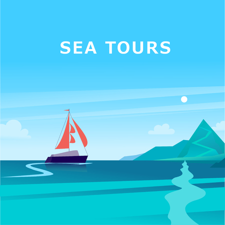 Vector flat summer landscape illustration with ship sailing across the ocean towards coast with mountains on blue clouded sky. Perfect for sea tours & travel poster, placard, flayer, leaflet, banners.  イラスト・ベクター素材