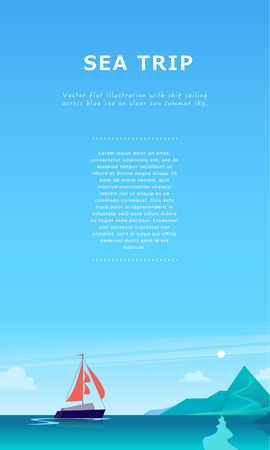 Vector flat summer landscape illustration with ship sailing across the ocean towards coast with mountains on blue clouded sky. Perfect for sea tours & travel poster, placard, flayer, leaflet, banners. Çizim