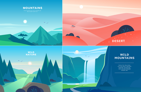 Vector set of flat summer landscape illustrations with desert, waterfall, mountains, sun, forest on blue clouded sky. Good for travel camping tour poster, placard, flayer, leaflet, banner. Nature view Banco de Imagens - 115089809