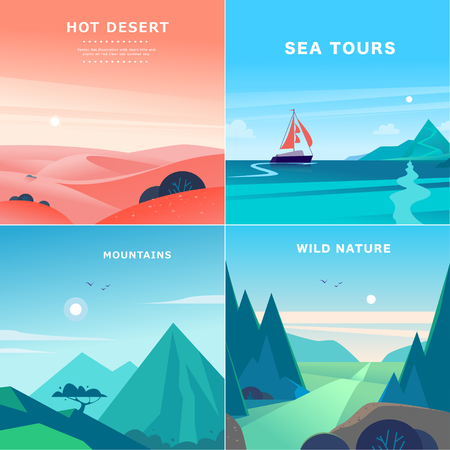 Vector set of flat summer landscape illustrations with desert, ocean, mountains, sun, forest on blue clouded sky. Perfect for travel camping tour poster, placard, flayer, leaflet, banner. Nature view. Çizim