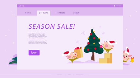 Vector season sale web page template with flat Christmas illustration of funny little pig elf in Santa hat decorating new year tree. Online shopping and marketing concept for website and mobile app.