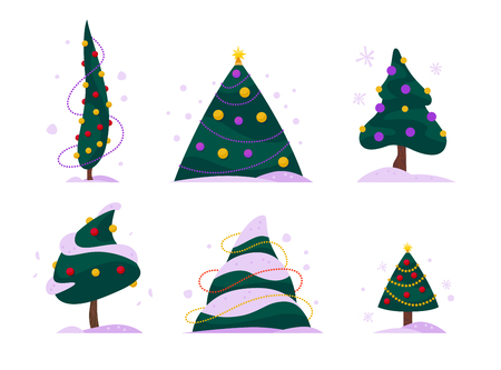 Vector set of flat Christmas trees different shapes decorated with garlands and balls isolated on white background. New year trees collection. Cartoon style. Perfect for web banners, cards, patterns.