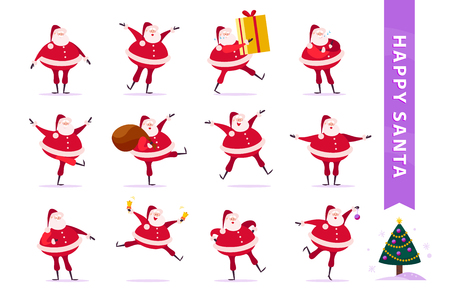 Vector collection of flat funny Santa Claus characters isolated on white background. Santa carry big gift box, hold presents bag, ring bells, dance, smile & decorate Christmas tree. Card, banner etc. Illustration