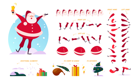 Vector Santa Claus character creator - different poses, gestures, emotions, holiday elements - snowflakes, fir tree, gift box & bag for Christmas designs, animation, web, banners isolated on white bg