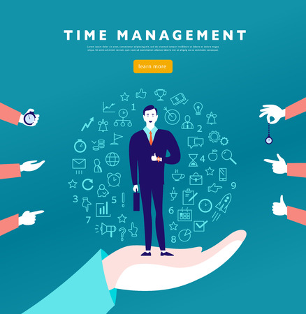 Time management. Vector flat minimalistic concept with businessman stand, isolated planning organizing icons & human hands. Line art. Business illustration. Web banner, consulting, coaching projects. Illustration