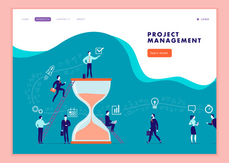 Vector web page template for business communication, workflow, online consulting, time management, team work. Landing page design. Office people work together. Banner, mobile app illustration concept. Illusztráció