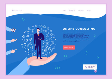 Vector web page template for time management project, business communication, consulting, planning. Landing page design. Businessman standing on human hand. Web banner, mobile app illustration concept