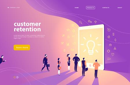 Progettazione di massima della pagina web di vettore con il tema di fidelizzazione dei clienti - le persone dell'ufficio stanno davanti al grande schermo della tavoletta digitale. Pagina di destinazione, app per dispositivi mobili, modello di sito. Line art, icone di affari. Marketing in entrata.