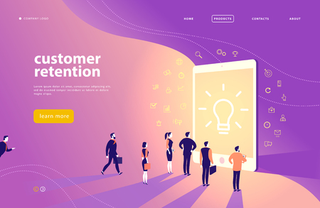 Vector web page concept design with customer retention theme - office people stand at big digital tablet screen. Landing page, mobile app, site template. Line art, business icons. Inbound marketing.  イラスト・ベクター素材