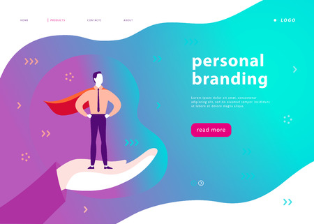 Vector web page template for personal branding, business communication, consulting, planning. Landing page design. Businessman standing as super hero on human hand. Web banner, mobile app illustration 免版税图像 - 107194275