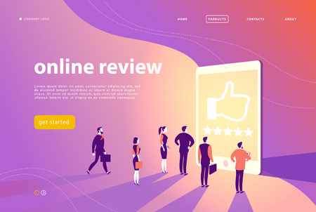 Vector web page concept design with online review theme - office people stand at big digital tablet watch shining screen with five stars. Landing page, mobile app, site template.