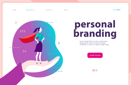 Vector web page template - personal branding, business communication, consulting, planning. Landing page design. Business lady standing as super hero on human hand. Web banner, mobile app illustration