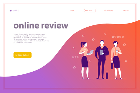 Vector web page concept design with online review theme. Office people stand watching on mobile device screen - laptop, tablet, smartphone. Thumb up, stars line icons. Landing page, mobile app, site. Illustration