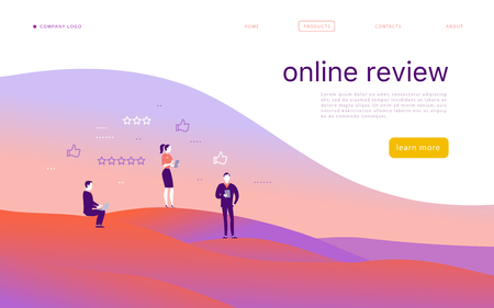 Vector web page concept design with online review theme. Office people stand with gadgets - laptop, tablet, smartphone - give stars rating. Thumb up, stars line icons. Landing page, mobile app, site. Illustration