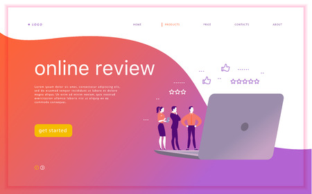 Vector web page concept design with online review theme. Office people stand watching on mobile device screen - laptop, tablet. Thumb up, stars line icons. Landing page, mobile app, UI, UX, site. Illustration