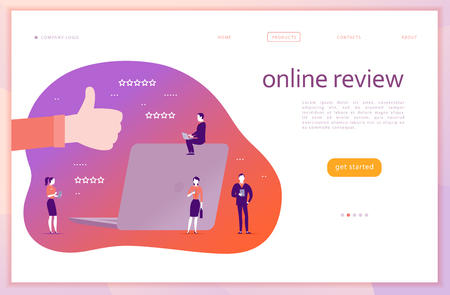 Vector web page concept design with online review theme. Office people with gadgets - laptop, tablet, smartphone. Thumb up sign, laptop screen, stars line icons. Landing page, mobile app, UI, UX, site Illustration