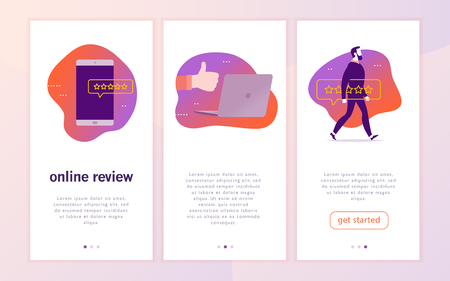 Vector mobile app interface concept design with online review. Gadgets: laptop, smartphone. Give a star rating, positive feedback concept. Thumb up, stars line icons. Landing page, UI site template.