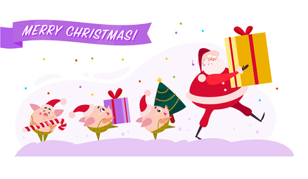 Vector flat Merry Christmas illustration with Santa Claus and cute pig elf walking with present gift box, decorated fir tree and candy lollipop isolated on white background. Web banner, advertisement. Illustration