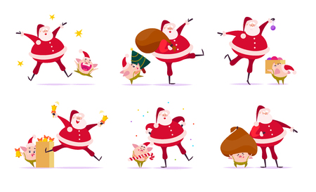 Vector set of flat Merry Christmas illustration with Santa Claus and cute pig elf companions in different situations isolated on white background. Web banner, advertisement, cards. Cartoon style. Ilustração