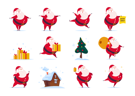 Vector set of flat funny Santa Claus character isolated on white background - stand, carry presents bag, hold gift box, jump, walk, smile. Fir tree, gingerbread house. Card, banner, web, animation etc