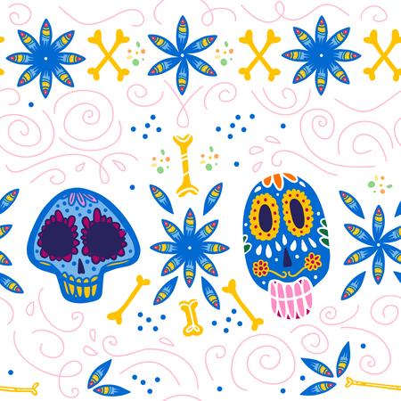 Reticolo senza giunte per la celebrazione tradizionale del Messico - dia de los muertos - con teschio colorato, ossa, ornamento floreale isolato su priorità bassa bianca. Buono per il design del packaging, la stampa, l'arredamento, il web