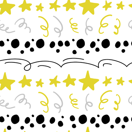 Vector abstract seamless pattern with stars, confetti, lines, spots in hand drawn comic style. Doodling, doodle. Nursery. Good for packaging design, children's room interior decor, kid clothes prints. Standard-Bild - 111586194