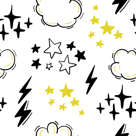 Vector seamless pattern with stars, clouds, lightning in hand drawn comic style. Doodling, doodle. Nursery outline drawing. Good for packaging design, childrens room interior decor, kid clothes print Stock Illustratie