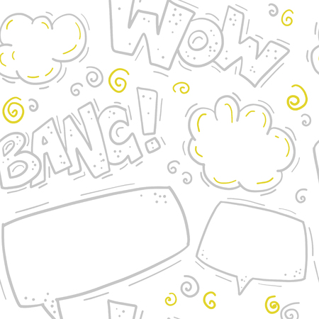 Vector seamless pattern with comic letters, speech bubble, text box, smoke in hand drawn style. Doodling, doodle. Nursery outline drawing. Packaging design, children's room interior decor, kid prints. Standard-Bild - 107086878