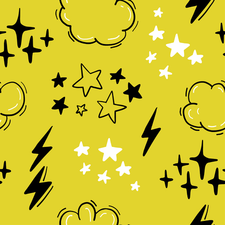 Vector seamless pattern with stars, clouds, lightning in hand drawn comic style. Doodling, doodle. Nursery outline drawing. Good for packaging design, children's room interior decor, kid clothes print Standard-Bild - 111586196