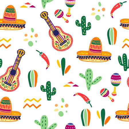 Vector seamless pattern with Mexico traditional celebration decor elements - guitar, sombrero, maracas, paprika, cactus & abstract ornaments isolated on white background. Good for packaging, prints.