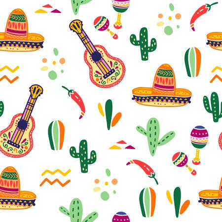 Vector nahtloses Muster mit traditionellen Feierdekorelementen Mexikos - Gitarre, Sombrero, Maracas, Paprika, Kaktus u. abstrakte Verzierungen lokalisiert auf weißem Hintergrund. Gut für Verpackungen, Drucke.