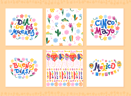 Vector collection of cards with traditional decoration for Mexico party, carnival, celebration, souvenirs, fiesta event in flat hand drawn style. Text congratulation, skull, floral elements, cacti. Иллюстрация