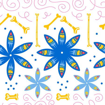 Vector seamless pattern for Mexico traditional celebration - dia de los muertos - with blue flowers, bones, floral ornament isolated on white background. Good for packaging design, print, decor, web. Illustration
