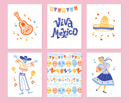 Vector collection of cards with traditional decoration for Mexico day dead party, dia de los muertos celebration in flat hand drawn style. Lettering congratulation, guitar, sombrero, skeleton, pattern  イラスト・ベクター素材