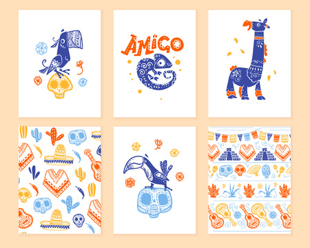 Vector collection of cards with traditional decoration for Mexico day dead party, dia de los muertos celebration in flat hand drawn style. Parrot, llama, toucan, pattern with skull, guitar, sombrero.