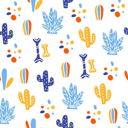 Patrón transparente de vector para la celebración tradicional de México - día de los muertos - con huesos, cactus, plantas aisladas sobre fondo blanco. Bueno para diseño de empaques, impresiones, decoración, pancartas, web, etc.