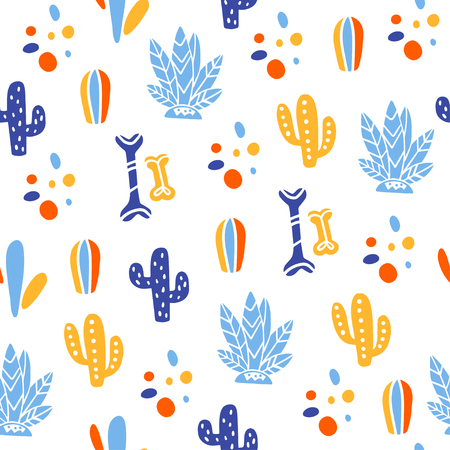 Vector seamless pattern for Mexico traditional celebration - dia de los muertos - with bones, cactus, plants isolated on white background. Good for packaging design, prints, decor, banners, web, etc. Stock Illustratie
