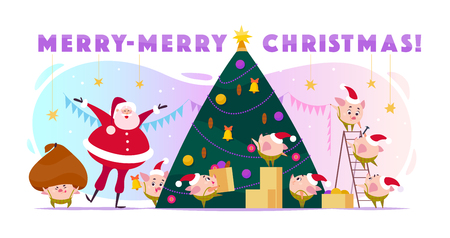 Vector flat illustration with Santa Claus laugh and 8 little round pig elf in Santa hat decorating big Christmas tree, carry boxes and huge bad. Cartoon style. Perfect for cards, web, packaging etc.