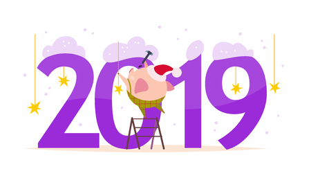Vector Merry Christmas flat illustration with 2019 number & happy little pig elf in santa hat decorating isolated on white background. Good for New Year season web banner, advertisement, card, poster.
