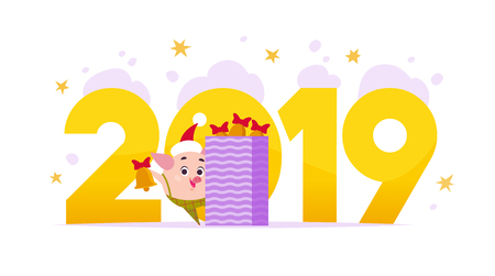 Vector Merry Christmas flat illustration with 2019 number and happy little pig elf in santa hat isolated on purple background. Good for New Year season web banner, advertisement, card, poster etc.