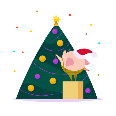Vector flat illustration of funny little pig elf in santa hat decorating New year fir tree isolated on white background. Perfect for web banner, packaging holiday design, cards etc.