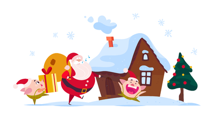 Vector flat Merry Christmas illustration of Santa Claus with gift bag, cute pig elf carry gift box, ginger house, decorated New year fir tree isolated on white background. Web banner, advertisement.