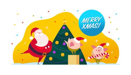 Illustrazione vettoriale di buon Natale piatto con Babbo Natale, elfo di maiale carino decorare l'albero di abete di Capodanno, congratulazioni per le vacanze di Natale isolato su priorità bassa bianca. Banner Web, pubblicità, biglietti, imballaggi
