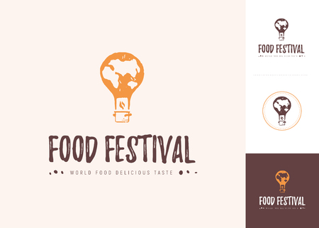 Vector food festival logo template in different color variants isolated. Restaurant, cafe, catering, food service emblem design. Air balloon, pot icon in grunge print style.