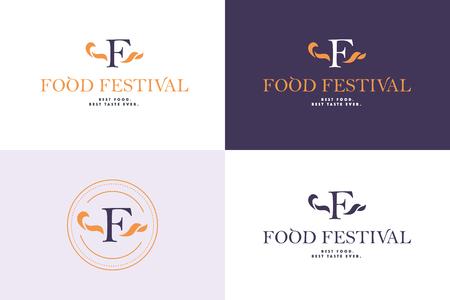 Vector food festival logo template in different color variants isolated. Restaurant, cafe, catering, food service emblem design. Monogram, minimalistic emblem design. Illustration