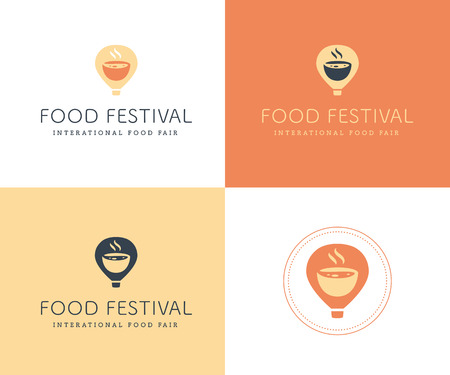 Vector food festival logo template in different color variants isolated. Restaurant, cafe, catering, food service emblem design. Logotype with air balloon and aroma bowl illustration.